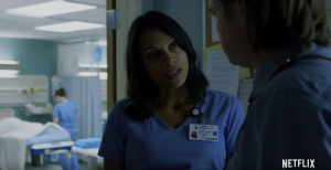 Claire Temple talks with Foggy about Daredevil