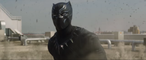 Black Panther in the middle of battle.