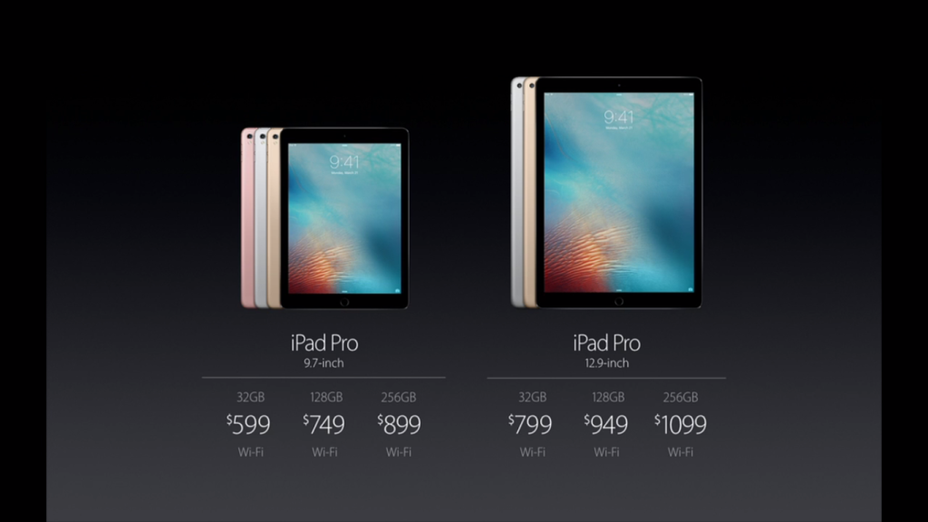 Price Comparison for the iPad Pro models, including the new 256GB model