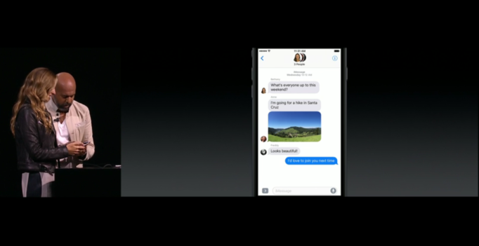 Image via Apple Keynote Messages demo at WWC in June 2016