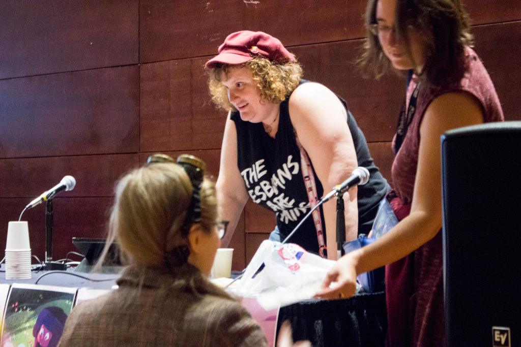 Judith Fisch and Natalie Reichel talk to attendees after their Steven Universe: Gay Space Rocks panel at Zenkaikon 2017. - Photo by Robert Beiler