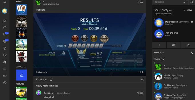 Screenshot of the Xbox App for Windows 10
