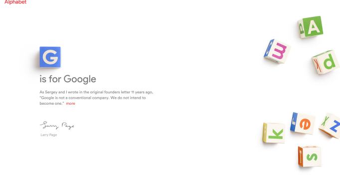 Homepage for Alphabet Inc, Google's new parent company.
